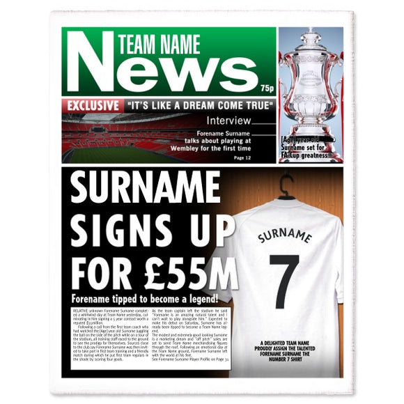 Personalised Football Newspaper Print - Single Page-Poppy Stop-Poppy Stop