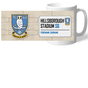 Sheffield Wednesday FC Street Sign Mug-Poppy Stop-Poppy Stop
