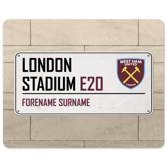 West Ham United FC Street Sign Mouse Mat-Poppy Stop-Poppy Stop