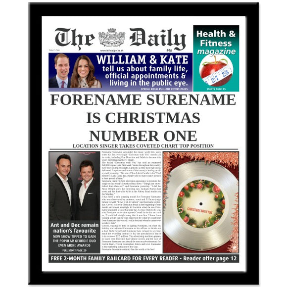 The Daily Christmas Number One News Print Frame - Female-Poppy Stop-NEWS-FR_BLACK-Poppy Stop