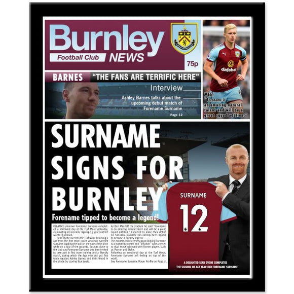 Burnley FC News Framed Print-Poppy Stop-NEWS-FR_BLACK-Poppy Stop