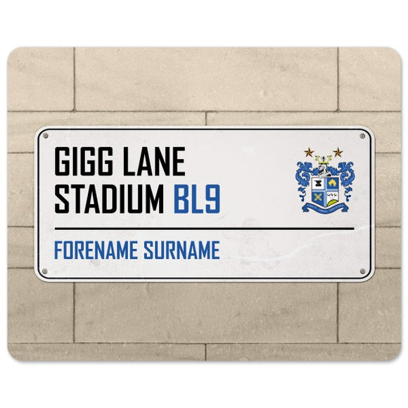 Bury FC Street Sign Mouse Mat-Poppy Stop-Poppy Stop