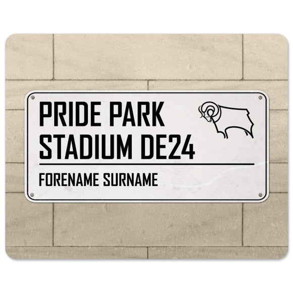 Derby County Street Sign Mouse Mat-Poppy Stop-Poppy Stop