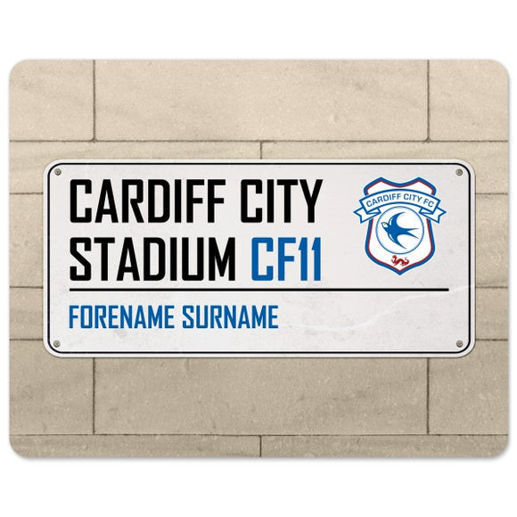 Cardiff City FC Street Sign Mouse Mat-Poppy Stop-Poppy Stop