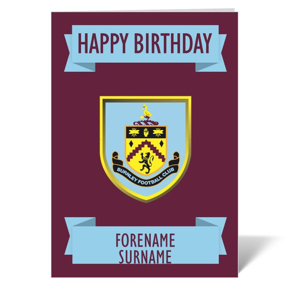 Burnley FC Crest Birthday Card-Poppy Stop-ITP_GC_A4_UK-Poppy Stop