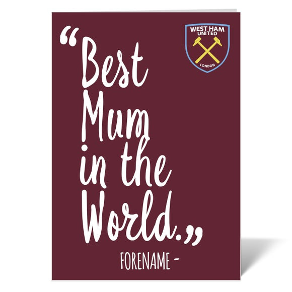 West Ham United FC Best Mum In The World Card-Poppy Stop-Poppy Stop