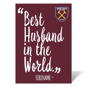 West Ham United FC Best Husband In The World Card-Poppy Stop-Poppy Stop