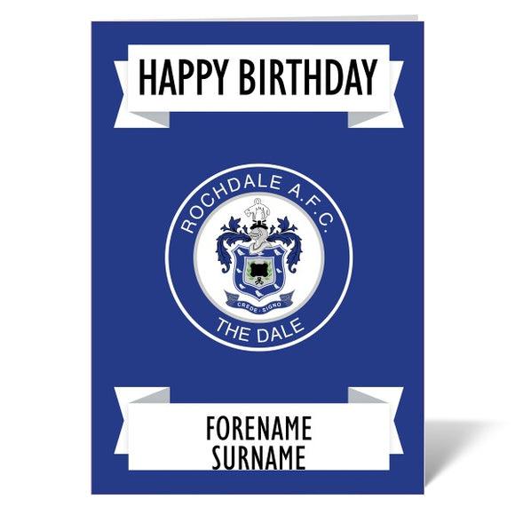 Rochdale AFC Crest Birthday Card-Poppy Stop-ITP_GC_A4_UK-Poppy Stop