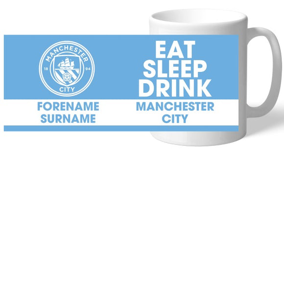 Manchester City FC Eat Sleep Drink Mug-Poppy Stop-Poppy Stop