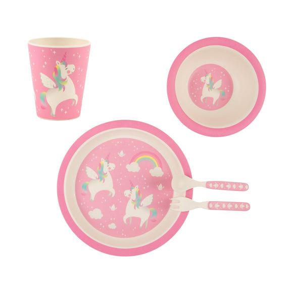 RAINBOW UNICORN BAMBOO TABLEWARE SET-Poppy Stop-Poppy Stop