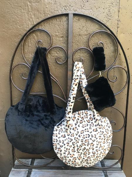 Faux Fur Black Round Bag