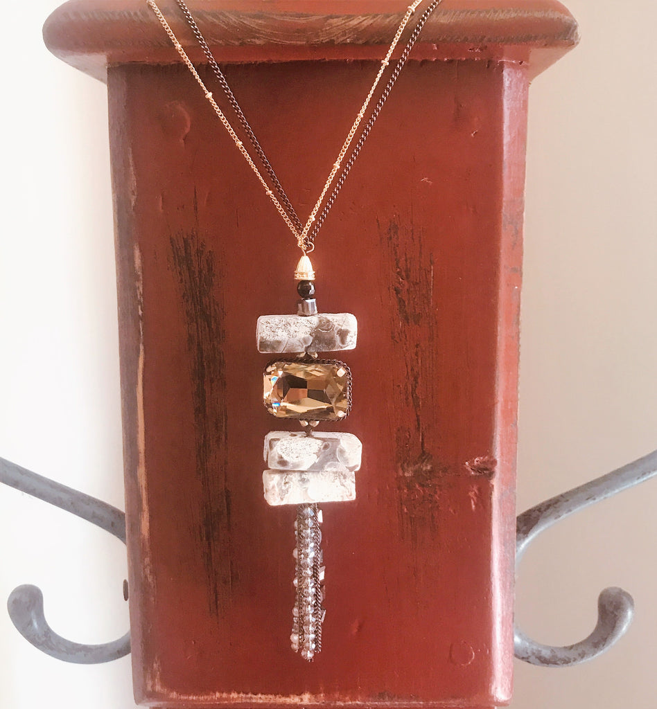 Natural stone with crystal necklace