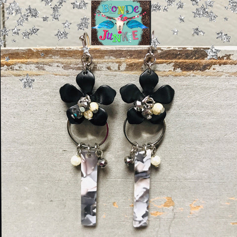 Lucite Flower beaded earrings, 3""