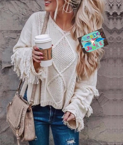 Vanilla Fringe Sweater