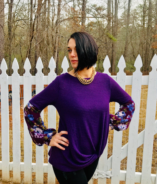Eggplant Floral knit w/ front gather