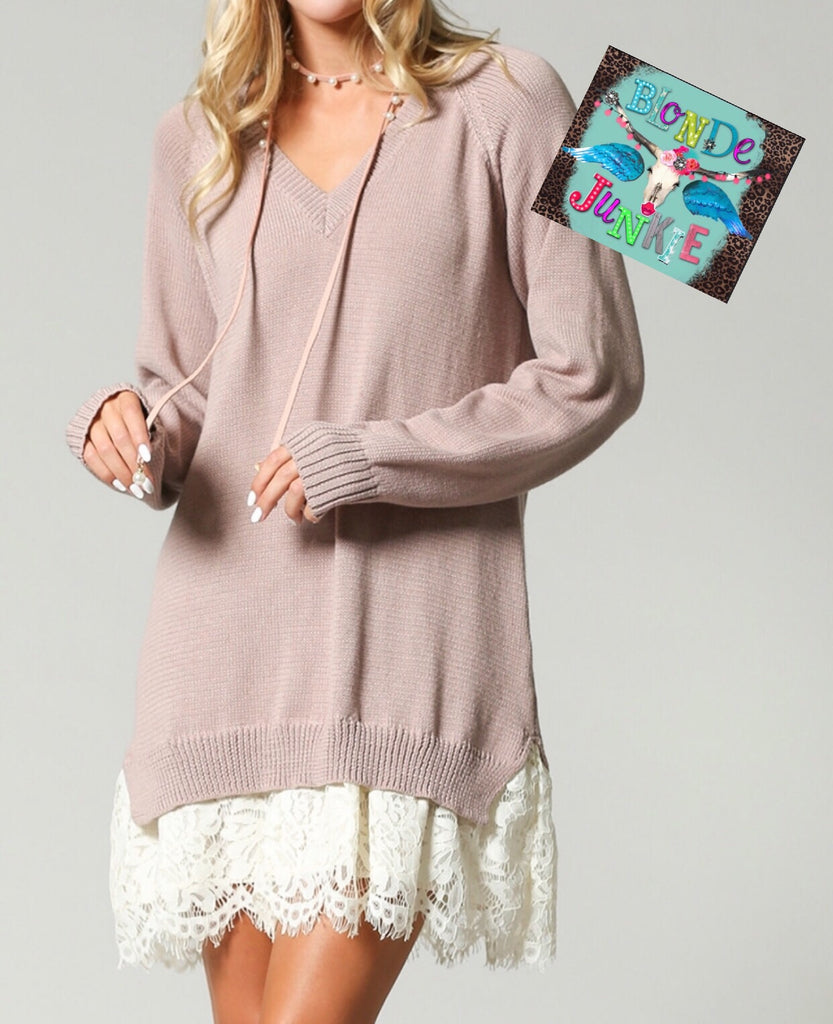 Mocha Lace Sweater Dress/Tunic