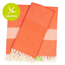 Load image into Gallery viewer, Barcelona Red Bamboo Beach Towel - Eselba
