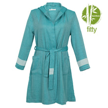 Load image into Gallery viewer, Belgrade Fitty BoxBox Dark Green Bamboo Women's Robe - Eselba