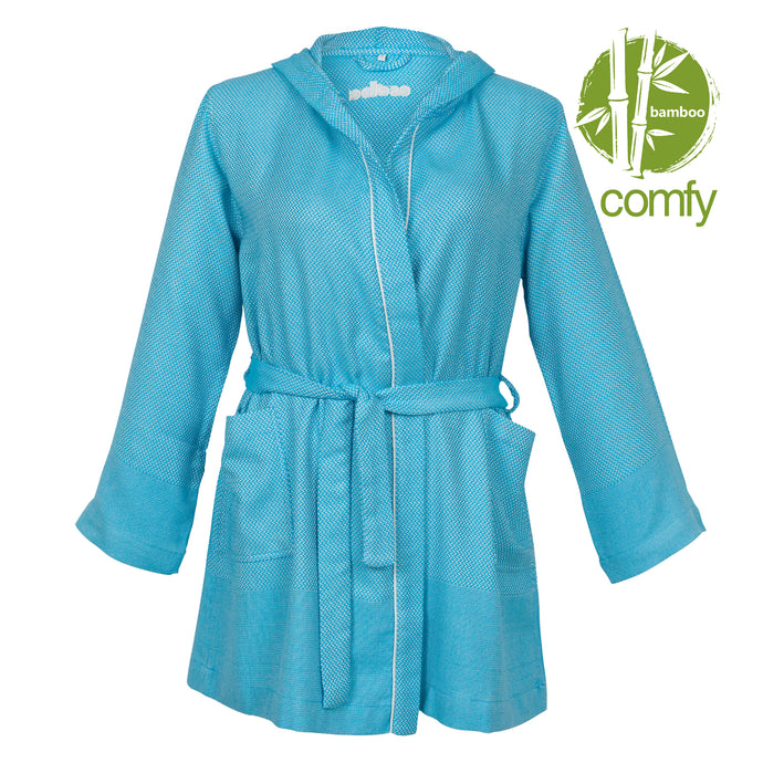 Buenos Aires Comfy Turquoise Blue Bamboo Women's Robe - Eselba