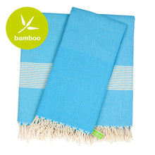 Load image into Gallery viewer, Buenos Aires Turquoise Blue Bamboo Beach Towel - Eselba