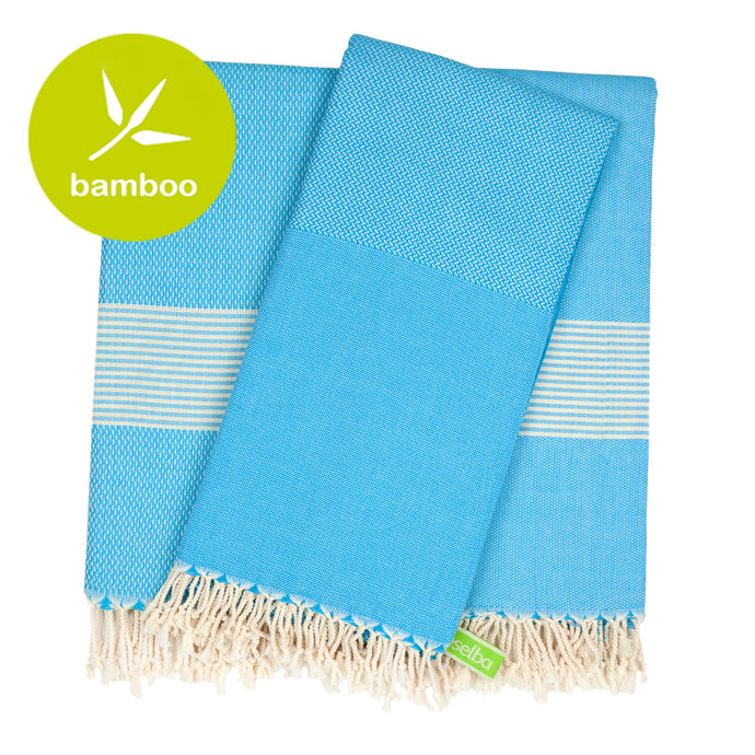 Buenos Aires Turquoise Blue Bamboo Beach Towel - Eselba