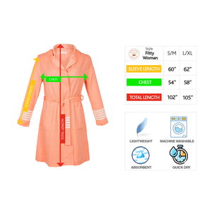 Havana Fitty Classy Living Coral Cotton Women's Robe - Eselba