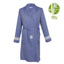 Load image into Gallery viewer, Istanbul Fitty BoxBox Dark Blue Bamboo Men's Robe - Eselba