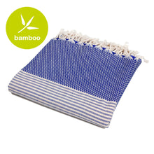 Load image into Gallery viewer, Istanbul Dark Blue Bamboo Beach Towel - Eselba