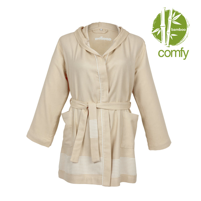 Lima Comfy Beige Bamboo Women's Robe - Eselba