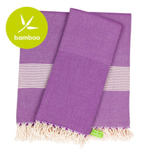 Load image into Gallery viewer, Milano Purple Bamboo Beach Towel - Eselba