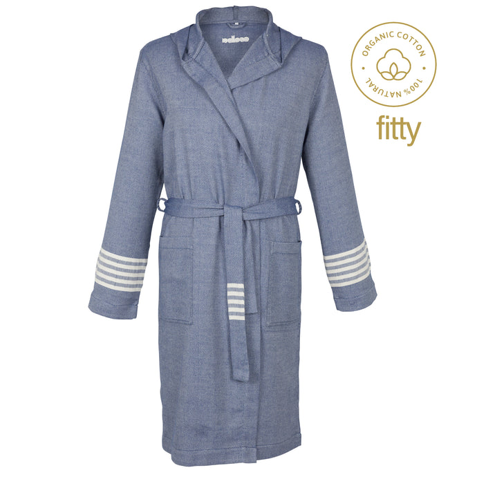 New York Fitty Classy Navy Blue Cotton Men's Robe - Eselba