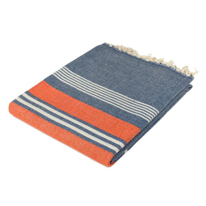 New York Navy Blue Cotton Beach Towel - Eselba