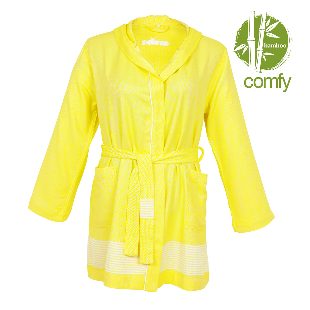 Phoenix Comfy Yellow Bamboo Women's Robe - Eselba