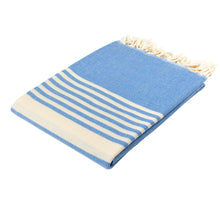 Load image into Gallery viewer, Santorini Blue Cotton Beach Towel - Eselba