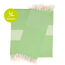 Load image into Gallery viewer, Tokyo Light Green Bamboo Beach Towel - Eselba