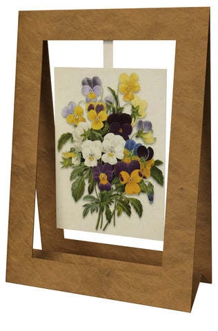 Bouquet of Pansies Mini Swing Elegant Blank Greeting Cards with Floral Designs for Anniversary, Baby Shower, Birthday, Wedding, and Bridal Shower