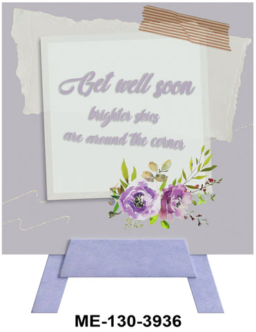 Get Well Soon Mini Easel Greeting Cards Artwork For Birthdays, Anniversary, Thinking of You, Sympathy Back Blank For Notes by Endless Art US
