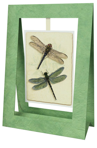 2 Dragonflies Green Mini Swing Elegant Blank Greeting Cards with Floral Designs for Anniversary, Baby Shower, Birthday, Wedding, and Bridal Shower