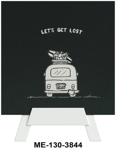 Let's Get Lost Mini Easel Greeting Cards Artwork For Birthdays, Anniversary, Thinking of You, Sympathy Back Blank For Notes by Endless Art US
