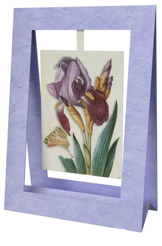 Iris With Butterfly Mini Swing Elegant Blank Greeting Cards with Floral Designs for Anniversary, Baby Shower, Birthday, Wedding, and Bridal Shower
