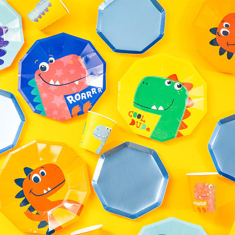Disposable paper plate - Colorful Dinosaur