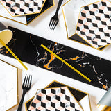 Disposable plates, cups, fork & spoons for parties – Black marble