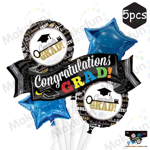 Graduation Foil Balloon Bouquet Set