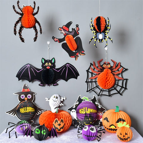 12 pcs Halloween paper honeycomb decoration pack