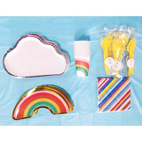 16 pax Disposable plates, cups, fork & spoons for parties – Rainbow