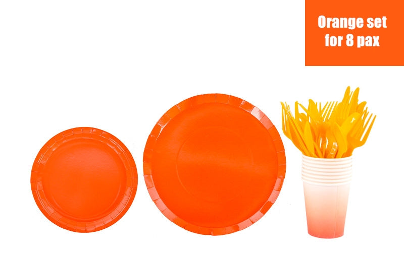 Full set Disposable plates, cups, fork & spoons for parties – Pure Color set