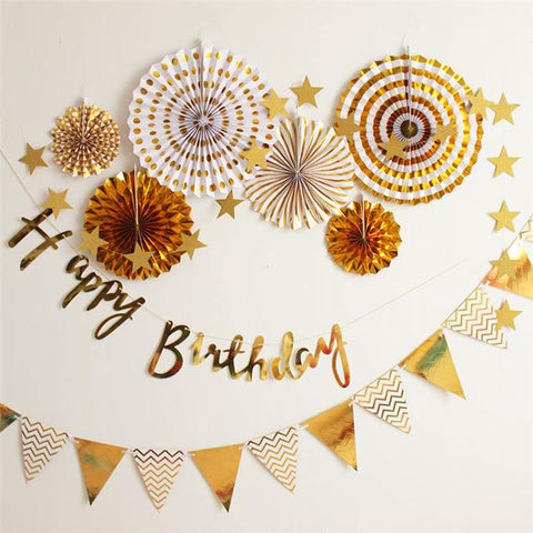 Simple Happy birthday party fan complete DIY deco set (Gold)