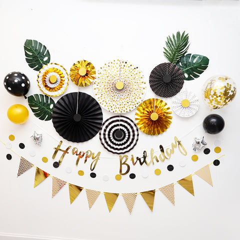 Black Gold Birthday 8pc Party Fan Set Party Decoration pack