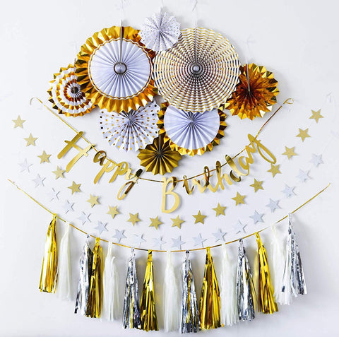 Happy birthday party fan complete DIY deco set (Gold)