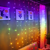 Rainbow 3m x 3m drop down curtain lights